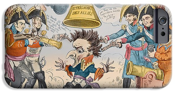 Roman Emperor iPhone Cases - The Head of the Great Nation in a Queer Situation iPhone Case by George Cruikshank