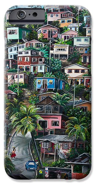 Tropical Paintings iPhone Cases - THE HILL     Trinidad  iPhone Case by Karin Kelshall- Best