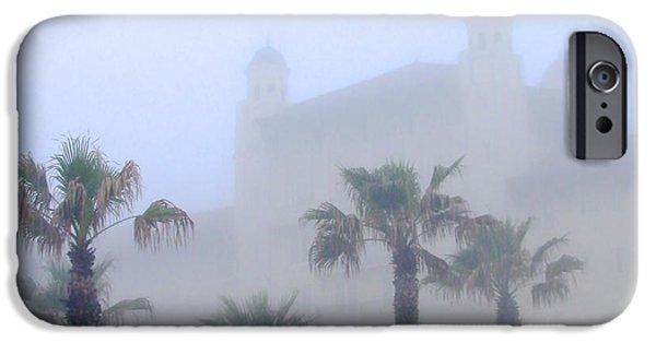 Fog Mist iPhone Cases - The Hotel Galvez In Galveston iPhone Case by Olivia  Bonham