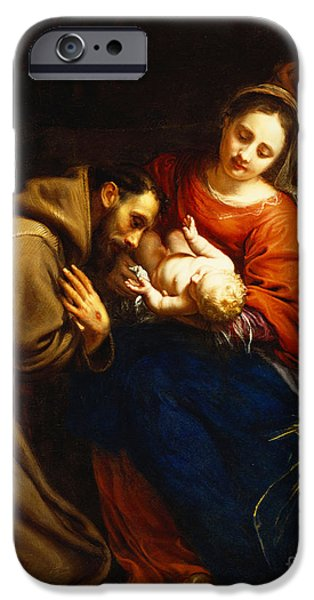 Religious iPhone Cases - The Holy Family with Saint Francis iPhone Case by Jacob van Oost