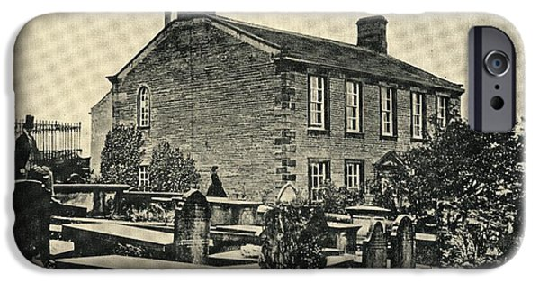 Charlotte Drawings iPhone Cases - The Home Of Charlotte Bronte,1816-1855 iPhone Case by Vintage Design Pics