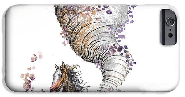 Pen And Ink Digital Art iPhone Cases - The Horse iPhone Case by Kristina Vardazaryan