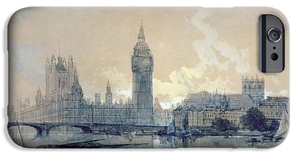 Houses Of Parliament iPhone Cases - The Houses of Parliament iPhone Case by David Roberts