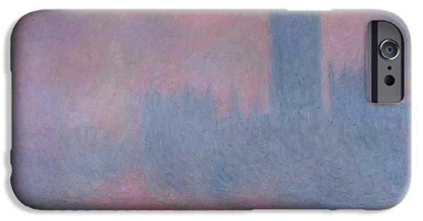 Mist iPhone Cases - The Houses of Parliament London iPhone Case by Claude Monet