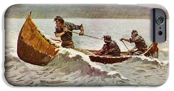 Recently Sold -  - Canoe iPhone Cases - The Howl of the Weather   detail 1907 iPhone Case by Frederick Remington