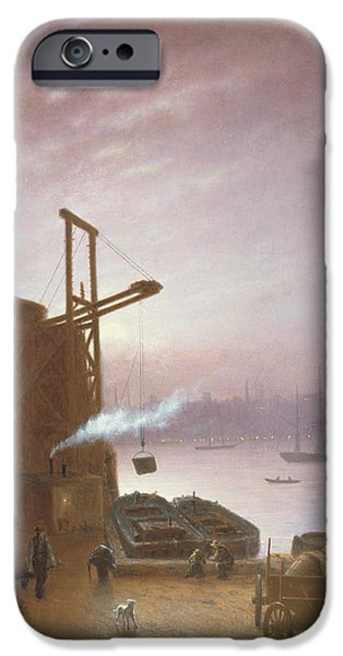 Industrial Paintings iPhone Cases - The Hudson River from Hoboken iPhone Case by Robert Walter Weir