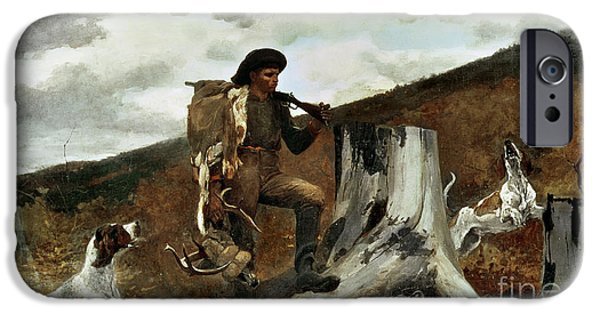 Dog Running. iPhone Cases - The Hunter and his Dogs iPhone Case by Winslow Homer