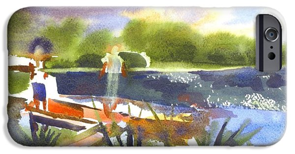 A Summer Evening Landscape Paintings iPhone Cases - The Ideal Catch iPhone Case by Kip DeVore