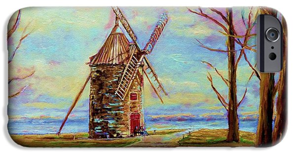 Vista Of Big Sur iPhone Cases - The Ile Perrot Windmill Moulin Ile Perrot Quebec iPhone Case by Carole Spandau