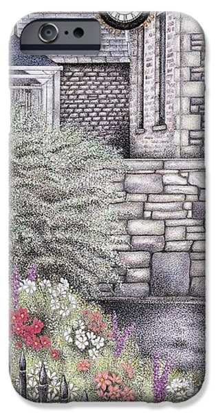 Garden Drawings iPhone Cases - The Institute Clock   Caton  Lancashire iPhone Case by Sandra Moore