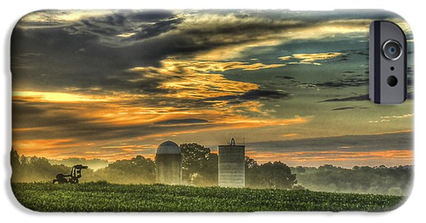 Constitution iPhone Cases - The Iron Horse New Corn Sunrise 2 iPhone Case by Reid Callaway