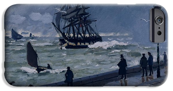 Rain Storm iPhone Cases - The Jetty at Le Havre in Bad Weather iPhone Case by Claude Monet