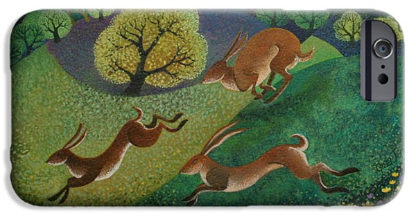 March Hare iPhone Cases - The Joy of Spring iPhone Case by Lisa Graa Jensen