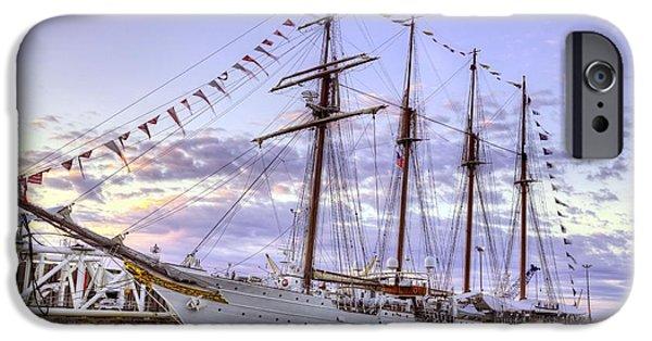 Tall Ship iPhone Cases - The Juan Sebastian de Elcano iPhone Case by JC Findley