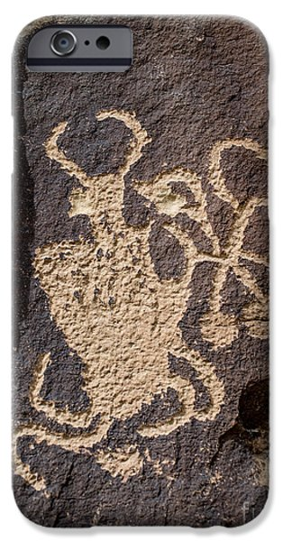 Jugglers iPhone Cases - The Juggler Petroglyph - Nine Mile Canyon - Utah iPhone Case by Gary Whitton