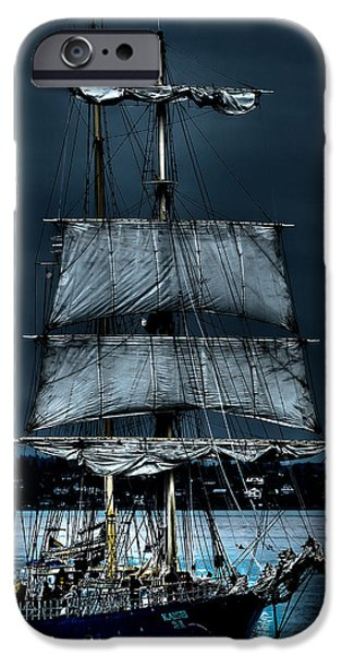 Pirate Ship iPhone Cases - The Kaisei Brigantine Tall Ship iPhone Case by David Patterson