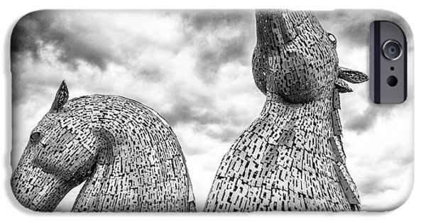 The Horse iPhone Cases - The Kelpies at Falkirk iPhone Case by Janet Burdon