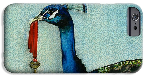 Peacock iPhone Cases - The Key To Success iPhone Case by Carrie Jackson