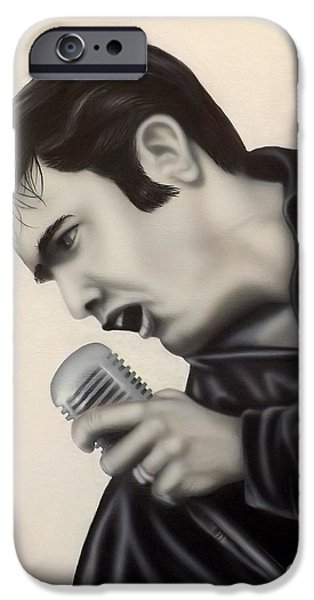 Elvis Presley Paintings iPhone Cases - The King  iPhone Case by Darren Robinson