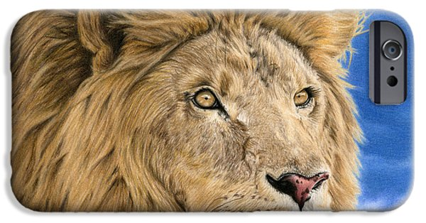 African Animal Drawings iPhone Cases - The King iPhone Case by Sarah Batalka