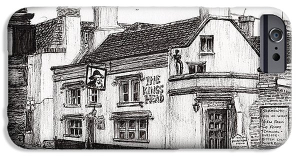 Pen And Ink iPhone Cases - The Kings Head iPhone Case by Vincent Alexander Booth
