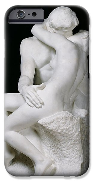 Love Sculptures iPhone Cases - The Kiss iPhone Case by Auguste Rodin