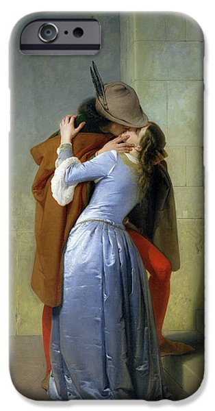 Day iPhone Cases - The Kiss iPhone Case by Francesco Hayez