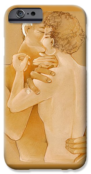 Couple Pastels iPhone Cases - The Kiss iPhone Case by Jamison Kaufman