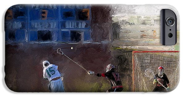 Scott Melby iPhone Cases - The Lacrosse Shot iPhone Case by Scott Melby