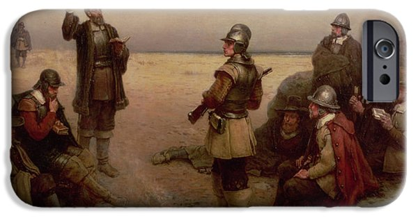Pilgrims iPhone Cases - The Landing of the Pilgrim Fathers iPhone Case by George Henry Boughton