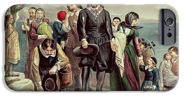 Pilgrims iPhone Cases - The Landing of the Pilgrims at Plymouth iPhone Case by Currier and Ives