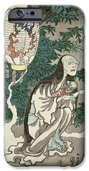 Ghost Story iPhone Cases - The Lantern of the Ghost of Sifigured O-iwa iPhone Case by Japanese School