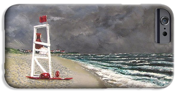 Jack Skinner Paintings iPhone Cases - The Last Lifeguard iPhone Case by Jack Skinner