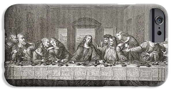 Jesus Drawings iPhone Cases - The Last Supper After Leonardo Da iPhone Case by Ken Welsh