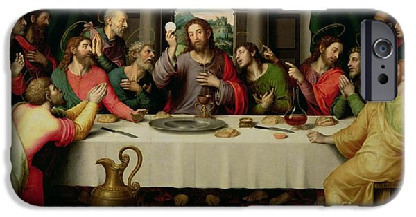 The Followers Paintings iPhone Cases - The Last Supper iPhone Case by Vicente Juan Macip