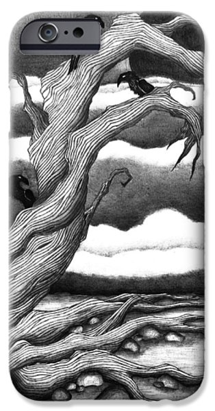 Crows iPhone Cases - The Last Tree iPhone Case by Jody Scheers
