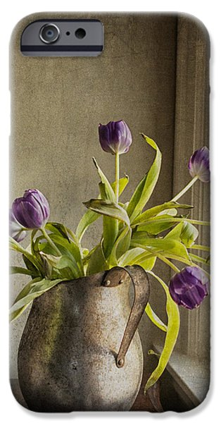 Interior Still Life Mixed Media iPhone Cases - The Last Tulips iPhone Case by Terry Rowe
