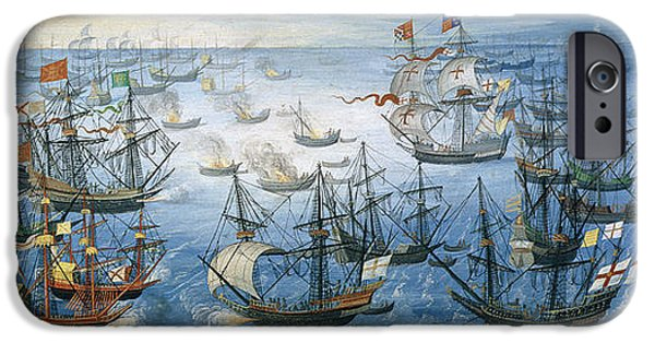 Ark iPhone Cases - The launching of English fire ships on the Spanish fleet off Calais iPhone Case by Flemish School