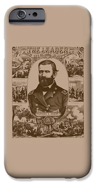 American History iPhone Cases - The Leader And His Battles - General Grant iPhone Case by War Is Hell Store