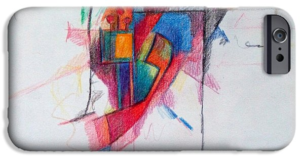 Abstractions Drawings iPhone Cases - The Letter Ayin iPhone Case by David Baruch Wolk