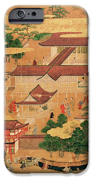 Pastimes iPhone Cases - The Life and Pastimes of the Japanese Court - Tosa School - Edo Period iPhone Case by Japanese School