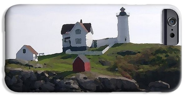 Lighthouse iPhone Cases - The Lighthouse at Nubble Point iPhone Case by Spencer McKain