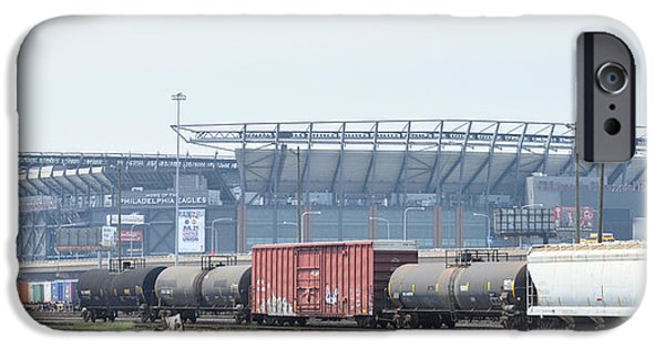 Philadelphia Phillies Stadium Digital iPhone Cases - The Linc from the Other Side of the Tracks iPhone Case by Bill Cannon
