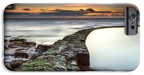 Ocean Sunset iPhone Cases - The line that crosses the ocean iPhone Case by Henrique Silva