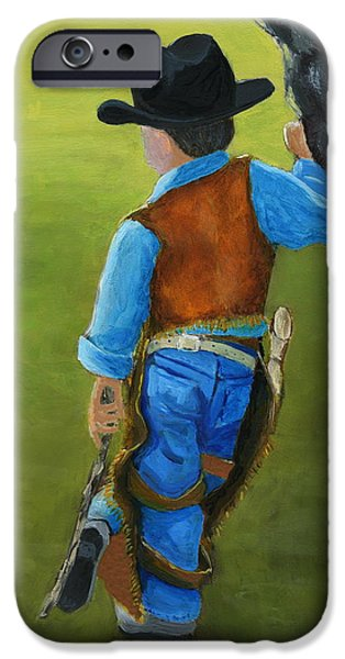 Nebraska Paintings iPhone Cases - The Little Cowboy iPhone Case by Karyn Robinson