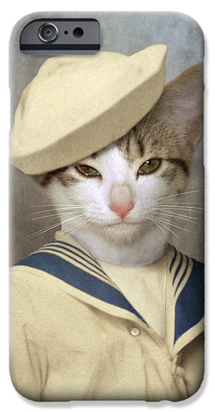 Bob Cats iPhone Cases - The Little Rascal iPhone Case by Martine Roch