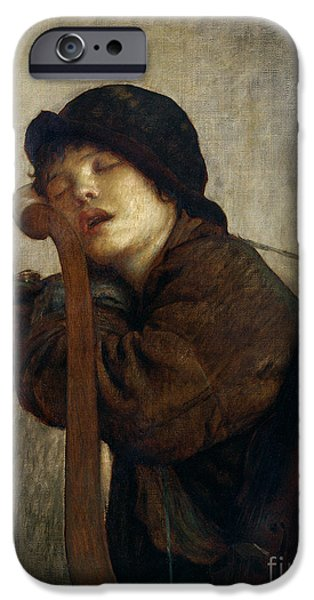 Daydream iPhone Cases - The Little Violinist Sleeping iPhone Case by Antoine Auguste Ernest Hebert