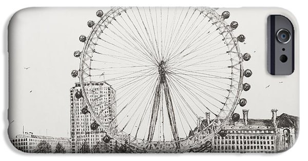 River Drawings iPhone Cases - The London Eye iPhone Case by Vincent Alexander Booth