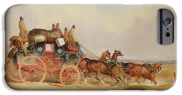 Road Travel iPhone Cases - The London to Louth Royal Mail iPhone Case by Charles Cooper Henderson