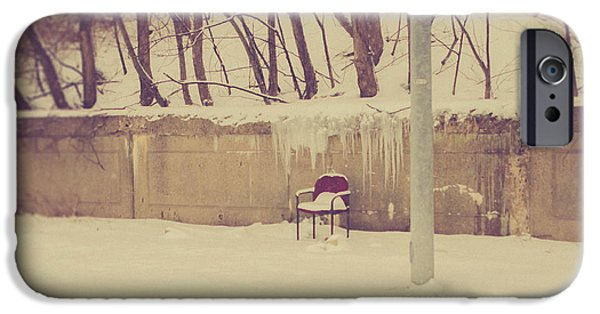 Snow iPhone Cases - The Lonely Chair iPhone Case by Kim Lenz